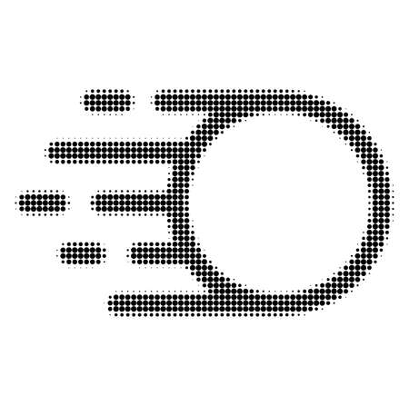 Light motion halftone dotted icon with fast speed effect. Vector illustration of light motion designed for modern abstract with symbols of speed, rush, progress, energy.