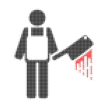 Bloody butcher halftone dotted icon. Halftone pattern contains round dots. Vector illustration of bloody butcher icon on a white background.