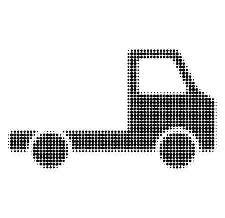 Delivery car chassi halftone dotted icon. Halftone pattern contains round points. Vector illustration of delivery car chassi icon on a white background.