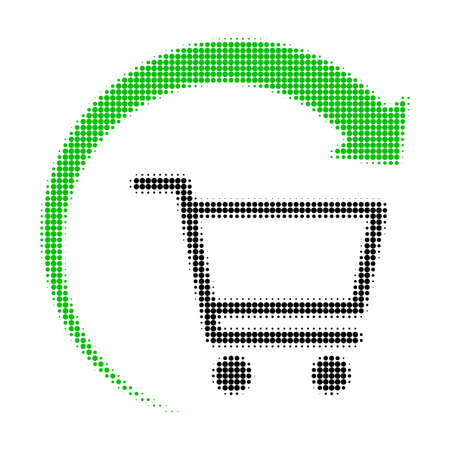 Repeat purchase order halftone dotted icon. Halftone pattern contains circle elements. Vector illustration of repeat purchase order icon on a white background.