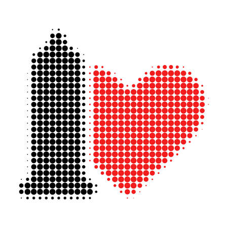 Safe love halftone dotted icon. Halftone array contains circle pixels. Vector illustration of safe love icon on a white background. Illustration