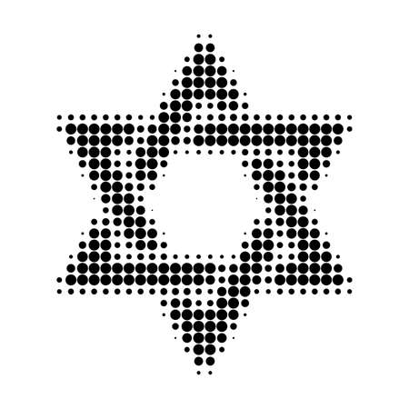 David star halftone dotted icon. Halftone pattern contains circle pixels. Vector illustration of david star icon on a white background.