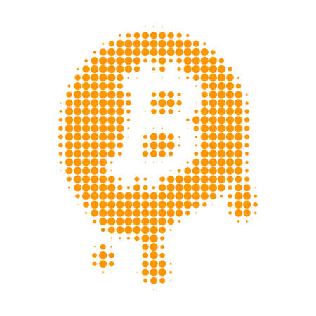 Melting bitcoin halftone dotted icon. Halftone pattern contains circle points. Vector illustration of melting bitcoin icon on a white background. Vettoriali