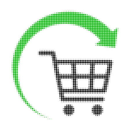 Repeat shopping cart halftone dotted icon. Halftone array contains round elements. Vector illustration of repeat shopping cart icon on a white background.