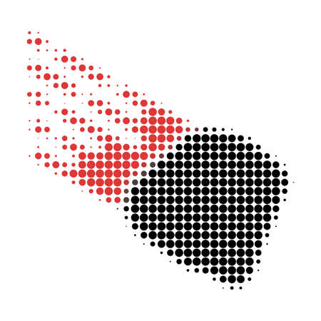 Stone meteorite halftone dotted icon. Halftone array contains circle elements. Vector illustration of stone meteorite icon on a white background.