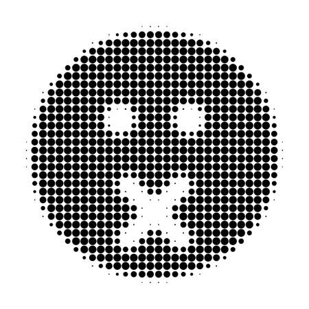 Silence smiley halftone dotted icon. Halftone array contains circle elements. Vector illustration of silence smiley icon on a white background.