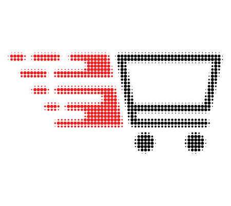 Shopping cart halftone dotted icon with fast speed effect. Vector illustration of shopping cart designed for modern abstract with symbols of speed, rush, progress, energy. Stock Illustratie