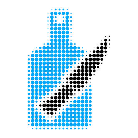 Cutting board and knife halftone dotted icon. Halftone array contains circle points. Vector illustration of cutting board and knife icon on a white background.
