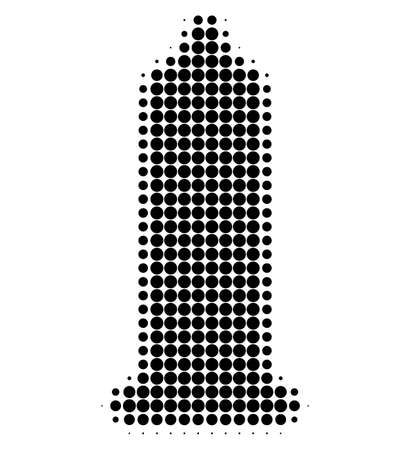 Condom halftone dotted icon. Halftone array contains round elements. Vector illustration of condom icon on a white background.