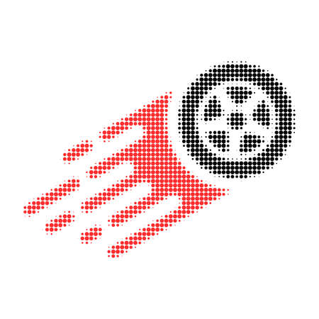 Tire wheel halftone dotted icon with fast speed effect. Vector illustration of tire wheel designed for modern abstract with symbols of speed, rush, progress, energy.