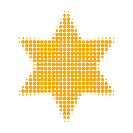 Six corner star halftone dotted icon. Halftone pattern contains round dots. Vector illustration of six corner star icon on a white background.