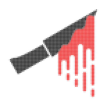 Bloody knife halftone dotted icon. Halftone pattern contains circle points. Vector illustration of bloody knife icon on a white background.