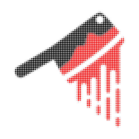 Blood butchery knife halftone dotted icon. Halftone array contains circle points. Vector illustration of blood butchery knife icon on a white background.