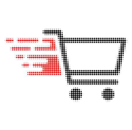 Shop cart halftone dotted icon with fast speed effect. Vector illustration of shop cart designed for modern abstract with symbols of speed, rush, progress, energy.