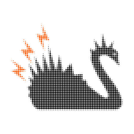 Black danger swan halftone dotted icon. Halftone array contains circle points. Vector illustration of black danger swan icon on a white background.