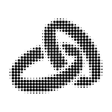 Wedding rings halftone dotted icon. Halftone pattern contains circle pixels. Vector illustration of wedding rings icon on a white background.