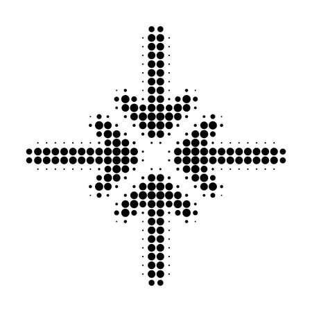 Collapse arrows halftone dotted icon. Halftone array contains circle pixels. Vector illustration of collapse arrows icon on a white background.