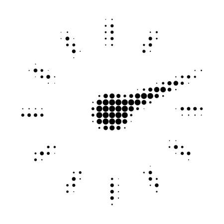 Clockface halftone dotted icon. Halftone array contains circle dots. Vector illustration of clockface icon on a white background. Vectores