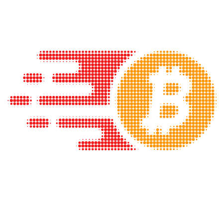 Btc coin halftone dotted icon with fast speed effect. Vector illustration of btc coin designed for modern abstraction with symbols of speed, rush, progress, energy.  イラスト・ベクター素材