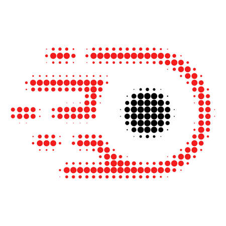 Participle motion halftone dotted icon. Halftone array contains circle pixels. Vector illustration of participle motion icon on a white background.