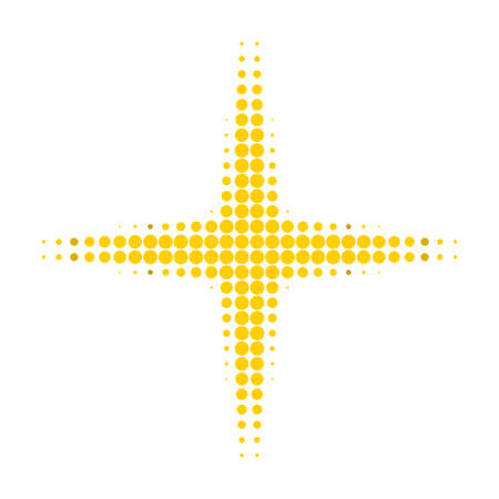 Space star halftone dotted icon. Halftone pattern contains round pixels. Vector illustration of space star icon on a white background. Ilustração