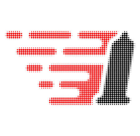 Preservative halftone dotted icon with fast speed effect. Vector illustration of preservative designed for modern abstraction with symbols of speed, rush, progress, energy.