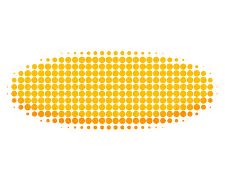 Gold disk halftone dotted icon. Halftone array contains circle pixels. Vector illustration of gold disk icon on a white background. Vektoros illusztráció