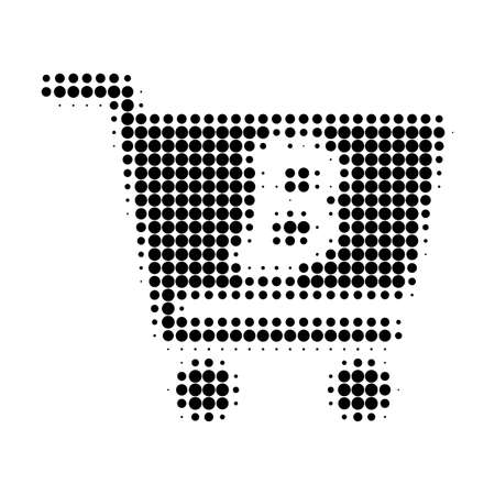 Bitcoin webshop halftone dotted icon. Halftone pattern contains circle dots. Vector illustration of bitcoin webshop icon on a white background. Stock Illustratie