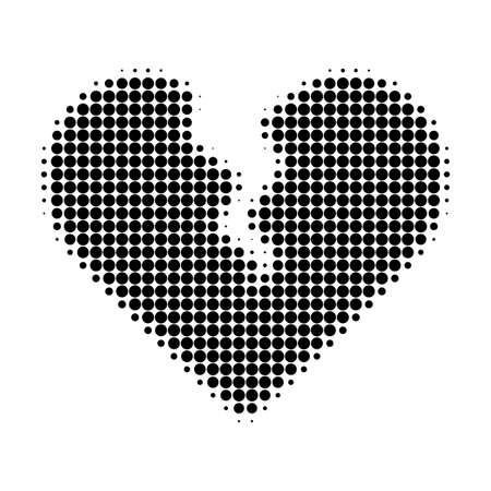 Divorce heart halftone dotted icon. Halftone array contains round dots. Vector illustration of divorce heart icon on a white background.
