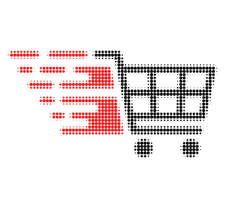 Supermarket cart halftone dotted icon with fast speed effect. Vector illustration of supermarket cart designed for modern abstraction with symbols of speed, rush, progress, energy. Stock Illustratie