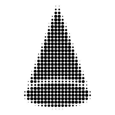 Cone figure halftone dotted icon. Halftone array contains circle elements. Vector illustration of cone figure icon on a white background.