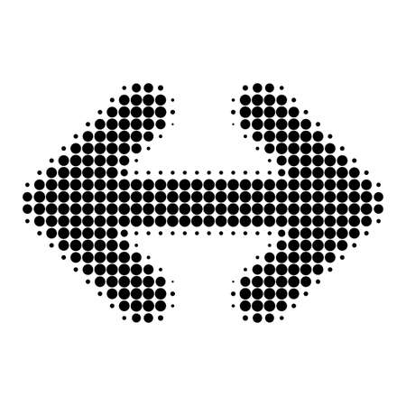 Exchange arrows horizontally halftone dotted icon. Halftone pattern contains round points. Vector illustration of exchange arrows horizontally icon on a white background.