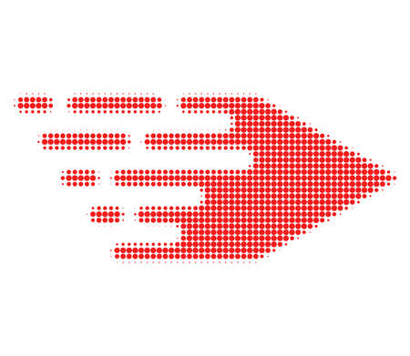 Movement right halftone dotted icon with fast speed effect. Vector illustration of movement right designed for modern abstract with symbols of speed, rush, progress, energy.
