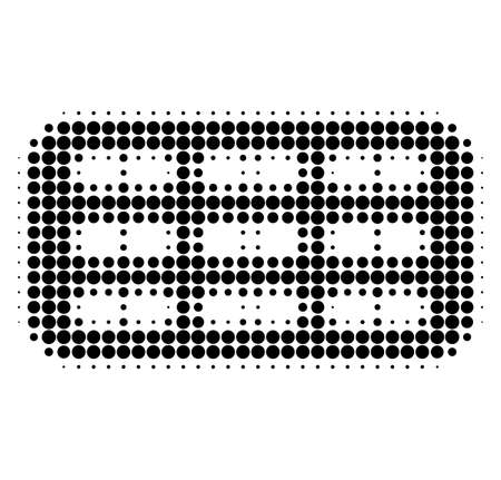 Pill blister halftone dotted icon. Halftone array contains circle dots. Vector illustration of pill blister icon on a white background. Stock Illustratie
