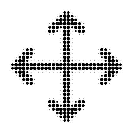 Expand arrows halftone dotted icon. Halftone array contains circle points. Vector illustration of expand arrows icon on a white background. Vettoriali