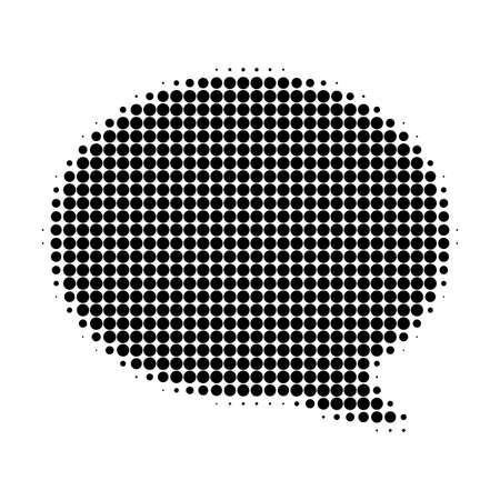 Message cloud halftone dotted icon. Halftone array contains round points. Vector illustration of message cloud icon on a white background.