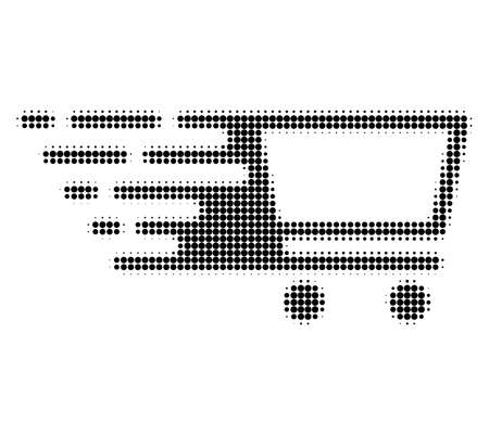 Shopping cart halftone dotted icon with fast speed effect. Vector illustration of shopping cart designed for modern abstraction with symbols of speed, rush, progress, energy. Stock Illustratie
