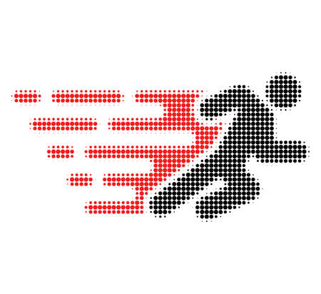 Running man halftone dotted icon with fast speed effect. Vector illustration of running man designed for modern abstract with symbols of speed, rush, progress, energy.  イラスト・ベクター素材