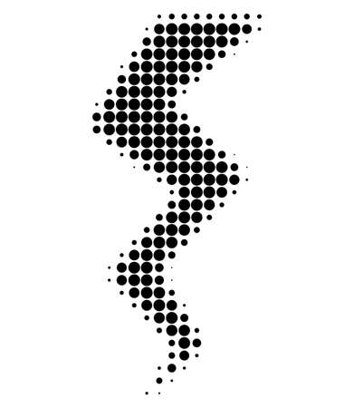 Icône pointillée de demi-teinte de crack de tonnerre. Le tableau de demi-teintes contient des points ronds. Illustration vectorielle de l'icône de crack de tonnerre sur un fond blanc.