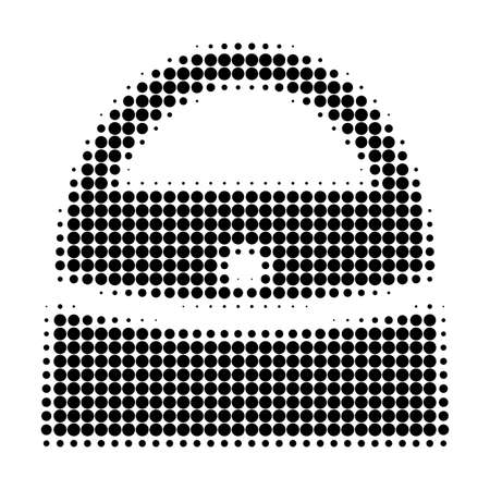 Shopping bag halftone dotted icon. Halftone array contains round elements. Vector illustration of shopping bag icon on a white background.