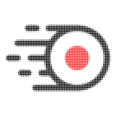 Core flight halftone dotted icon. Halftone array contains round elements. Vector illustration of core flight icon on a white background.