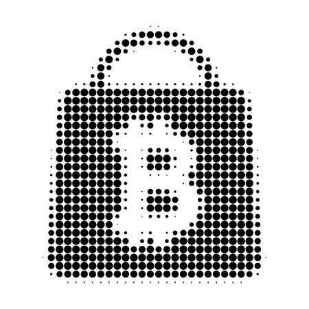 Bitcoin shopping bag halftone dotted icon. Halftone array contains round points. Vector illustration of bitcoin shopping bag icon on a white background. Stock Illustratie