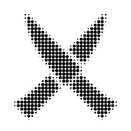 Crossing knives halftone dotted icon. Halftone pattern contains round pixels. Vector illustration of crossing knives icon on a white background.