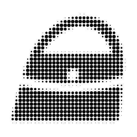 Shopping bag halftone dotted icon. Halftone array contains round points. Vector illustration of shopping bag icon on a white background.