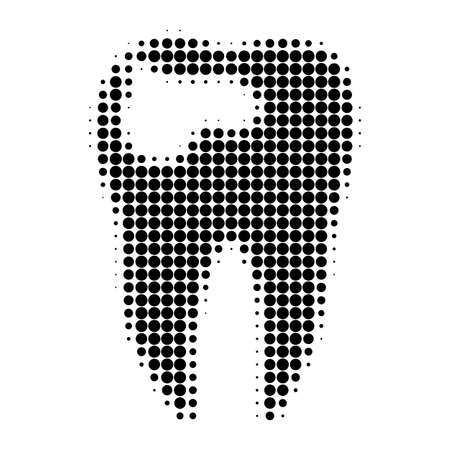 Tooth caries halftone dotted icon. Halftone array contains circle points. Vector illustration of tooth caries icon on a white background.
