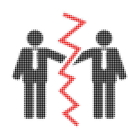 Businessmen divorce halftone dotted icon. Halftone pattern contains circle elements. Vector illustration of businessmen divorce icon on a white background. Illustration