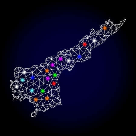 Glossy polygonal mesh map of Andhra Pradesh State with glow effect. Vector carcass map of Andhra Pradesh State with glowing multi colored points for New Year posters. White mesh lines. Illustration