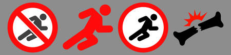 Forbidden running man icon set designed with simple style. Flat forbidden running man symbol collection. Control and rules pictograms are isolated on a gray background.