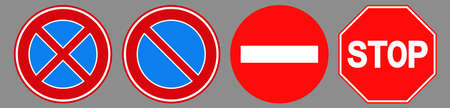Forbidden stop roadsign icon set designed with simple style. Flat forbidden stop roadsign symbol collection. Control and rules pictograms are isolated on a gray background. Illustration