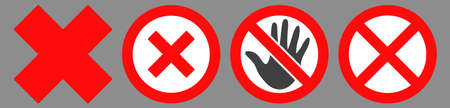 Forbidden icon set designed with simple style. Flat forbidden symbol collection. Control and rules pictograms are isolated on a gray background. Illustration